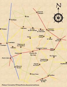 Mapa de la comarca de Alcázar de San Juanh