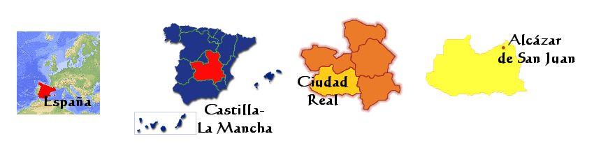 Situación de Alcázar de San Juan dentro de Ciudad Real, Castilla-La Mancha, España y Europa