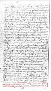 """En el recuadro rojo puede leerse """"Antonio de Quiñones de Alcázar y Expobal de Quiñones de""""."""