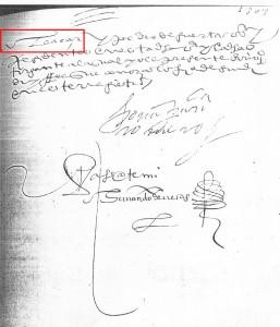 """Final del documento. En el recuadro puede leerse """"Alcázar""""."""